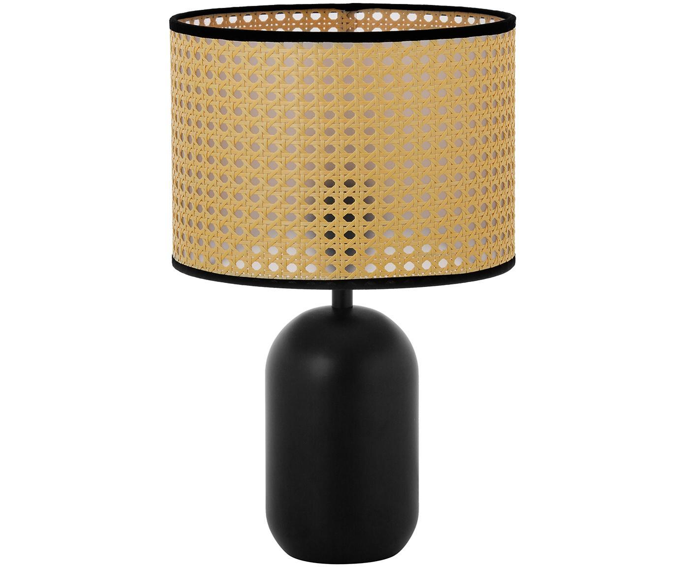 Lampada da tavolo in intreccio viennese Vienna, Paralume: materiale sintetico, Base della lampada: metallo verniciato a polv, Paralume: beige, nero Base della lampada: nero opaco Cavo: nero, Ø 25 x Alt. 40 cm