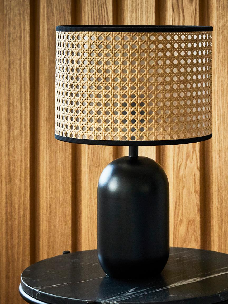 Lampa stołowa Vienna, Klosz: beżowy, czarny Podstawa lampy: czarny, matowy Kabel: czarny, Ø 25 x W 40 cm