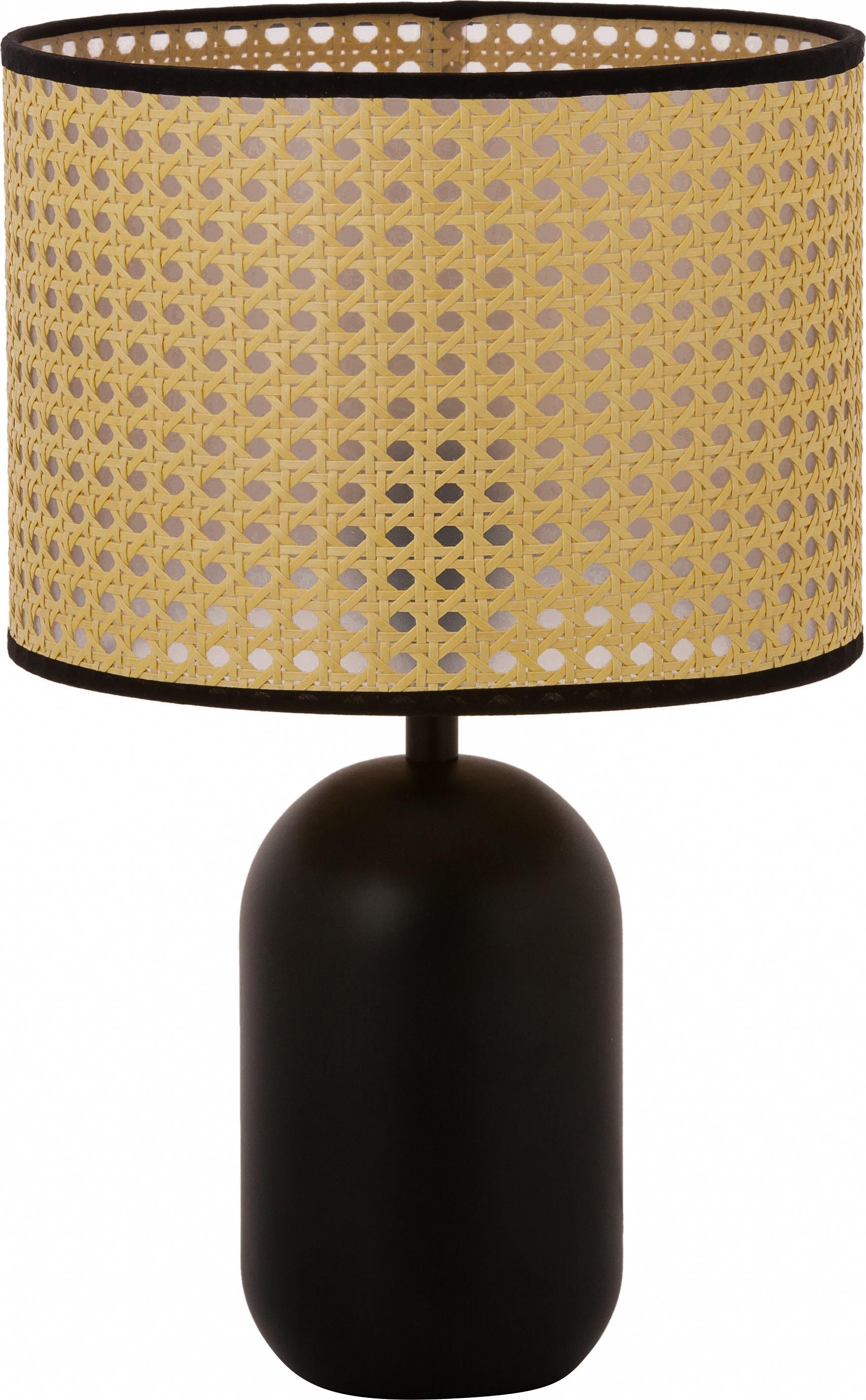 Tafellamp Vienna van Weens vlechtwerk, Lampenkap: kunststof, Lampvoet: gepoedercoat metaal, Lampenkap: beige, zwart. Lampvoet: mat zwart. Snoer: zwart, Ø 25 x H 39 cm