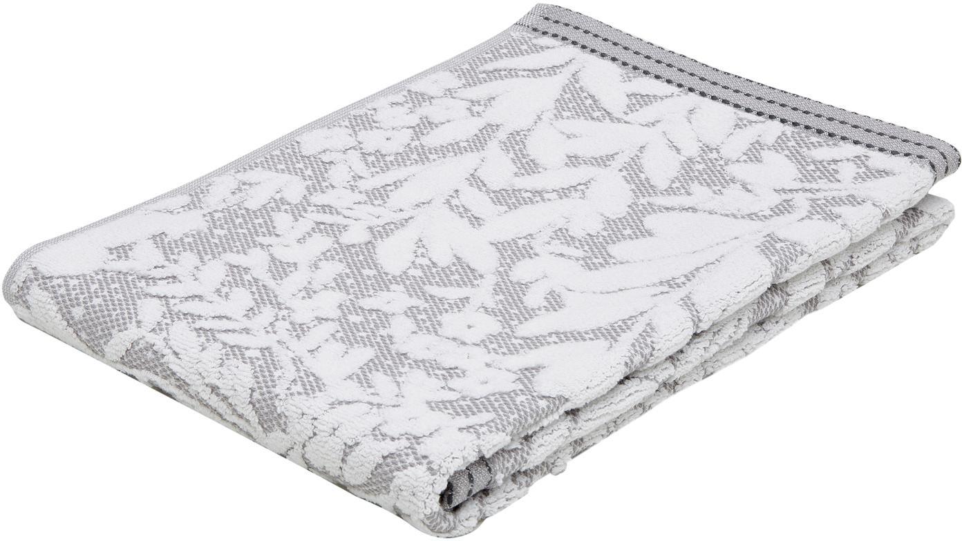 Handdoek Matiss met hoog-laaag bloemenpatroon, Katoen, middelzware kwaliteit, 550 g/m², Wit, zilvergrijs, Handdoek