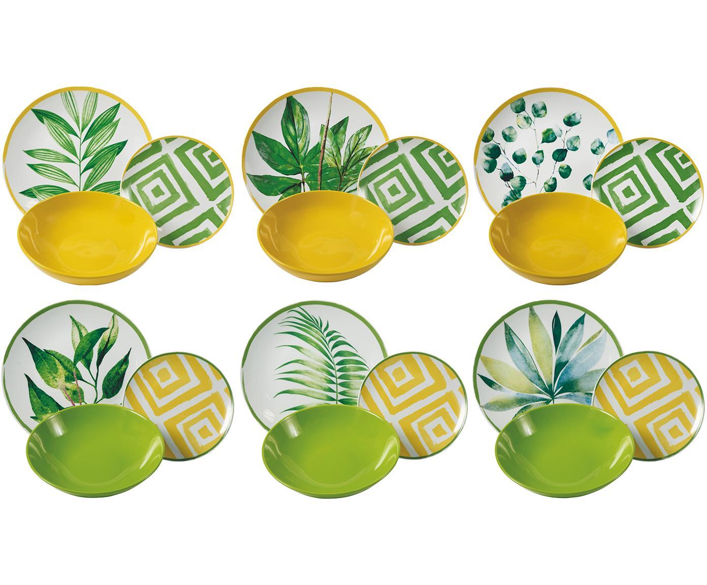Geschirr-Set Botanique mit tropischem Design, 6 Personen (18-tlg.), Porzellan, Gres, Grün, Weiss, Gelb, Verschiedene Grössen