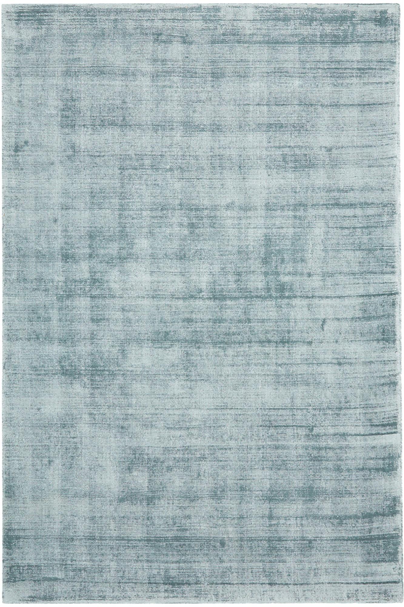 Tappeto in viscosa tessuto a mano Jane, Retro: 100% cotone, Blu ghiaccio, Larg. 200 x Lung. 300 cm (taglia L)