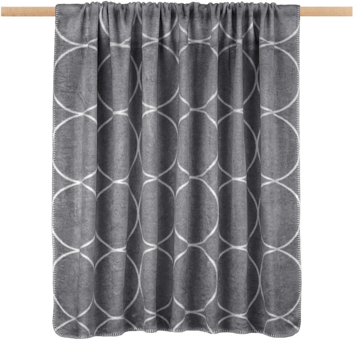 Manta doble cara de gamuza Bamboo Circles, Gris antracita, An 150 x L 200 cm