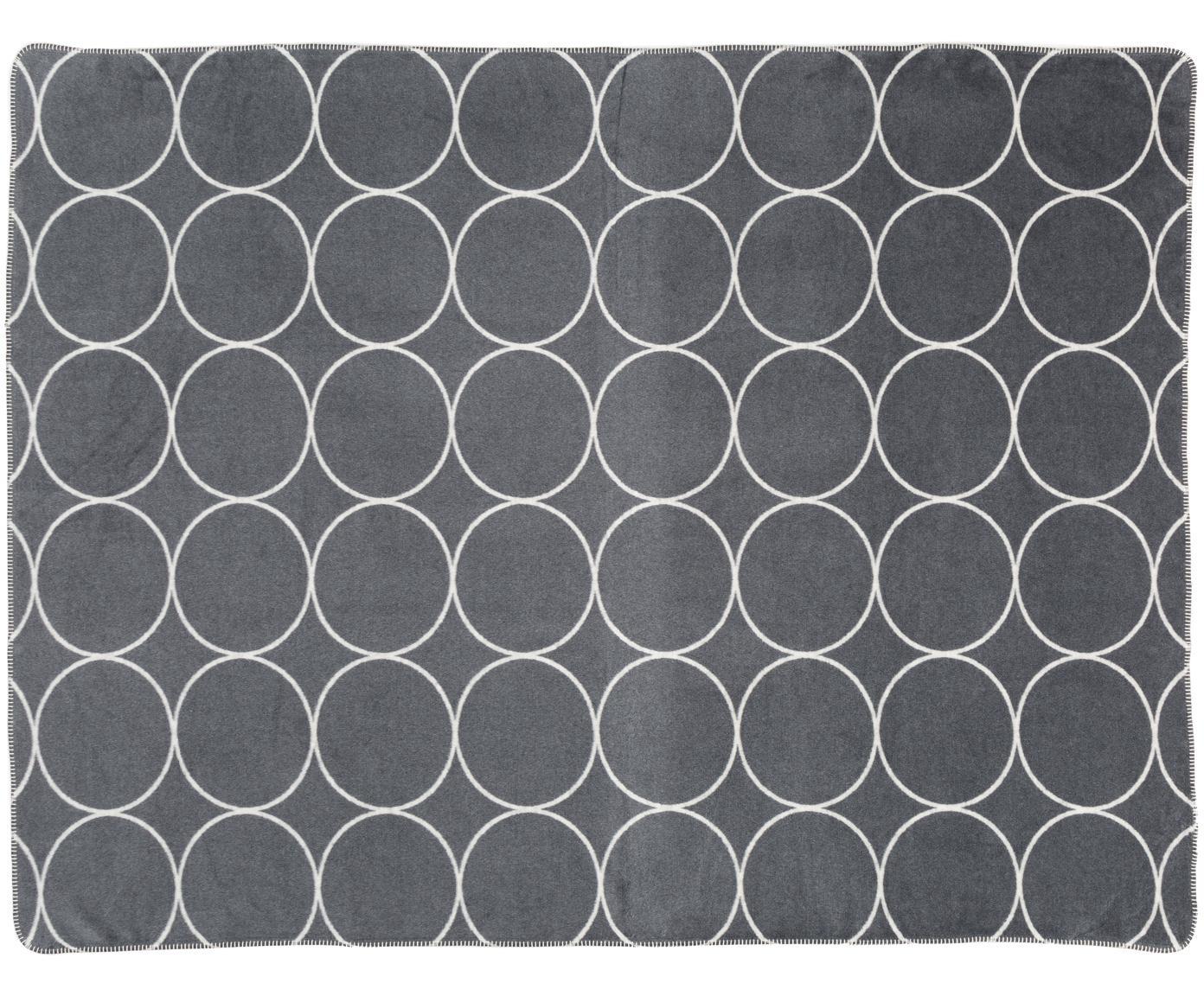 Velour-Wendeplaid Bamboo Circles, Webart: Jacquard, Anthrazit, 150 x 200 cm