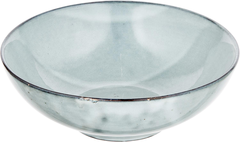 Ciotola fatta a mano Thalia 2 pz, Ceramica, Grigio con bordo scuro, Ø 18 x Alt. 6 cm