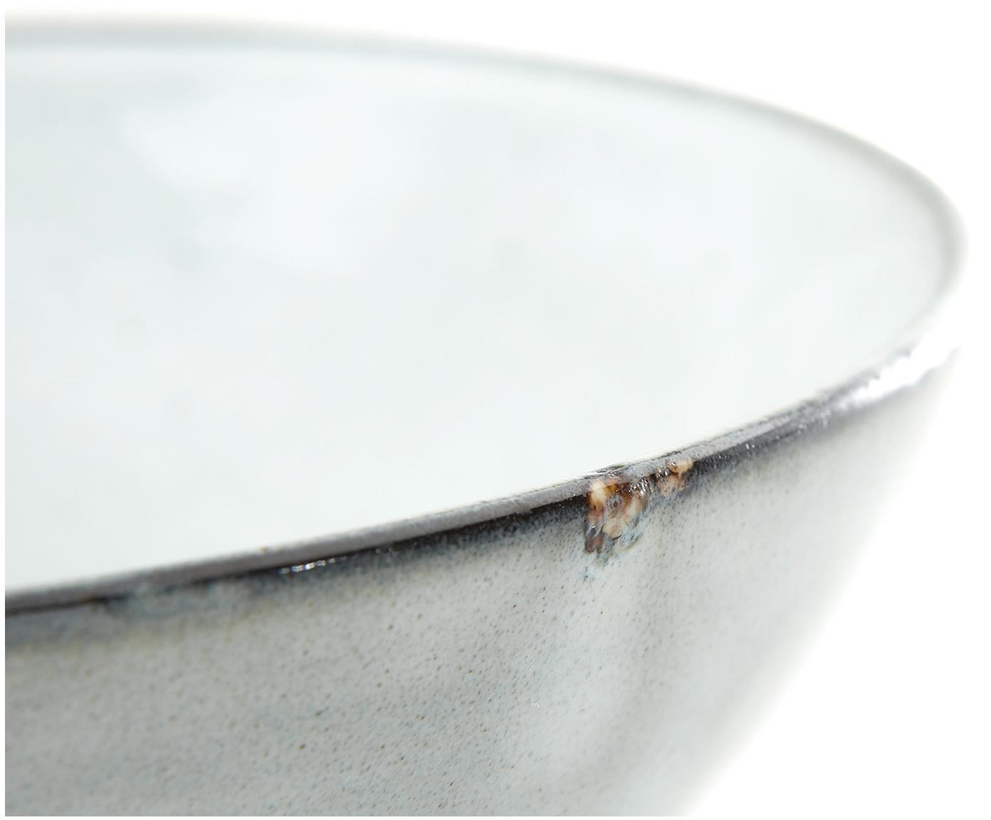 Handgemachte Suppenteller Thalia, 2 Stück, Steinzeug, Blaugrau mit dunklem Rand, Ø 18 x H 6 cm