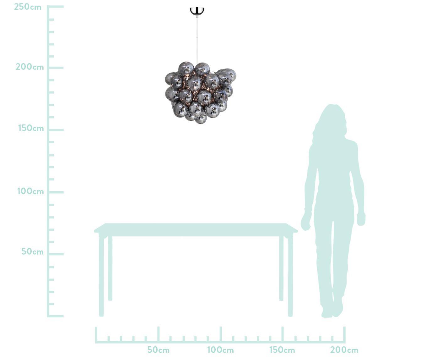 Glaskugel-Pendelleuchte Gross, Chrom, Ø 50 x H 50 cm
