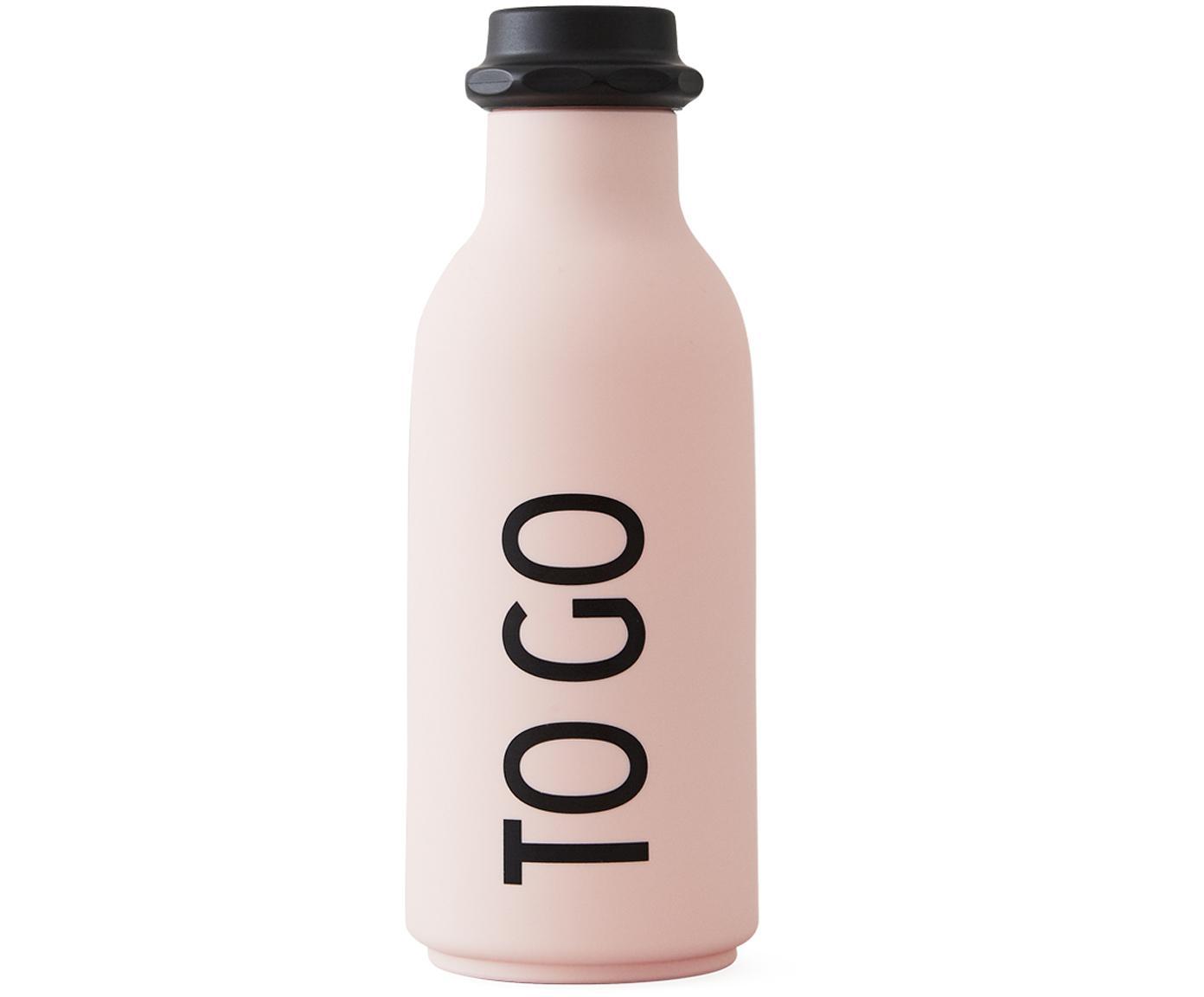 Isolierflasche To Go, Flasche: Tritan (Kunststoff), BPA-, Deckel: Polypropylen, Rosa matt, Schwarz, Ø 8 x H 20 cm