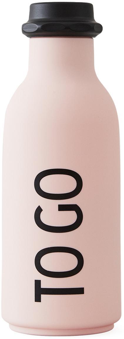 Design Isolierflasche TO GO in Rosa mit Schriftzug, Flasche: Tritan (Kunststoff), BPA-, Deckel: Polypropylen, Rosa matt, Schwarz, Ø 8 x H 20 cm