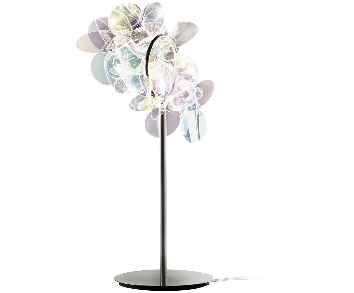 Design-Tischleuchte Mille Bolle, Lampenschirm: Technopolymer Cristalflex, Lampenfuß: rostfreier Stahl, Mehrfarbig, 22 x 41 cm