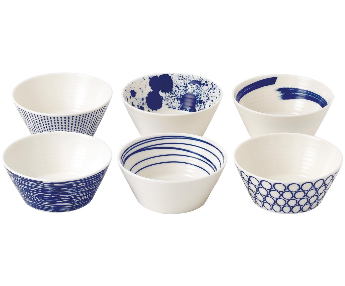 Set de cuencos de porcelana Pacific, 6pzas., Porcelana, Blanco, azul, Ø 11 cm