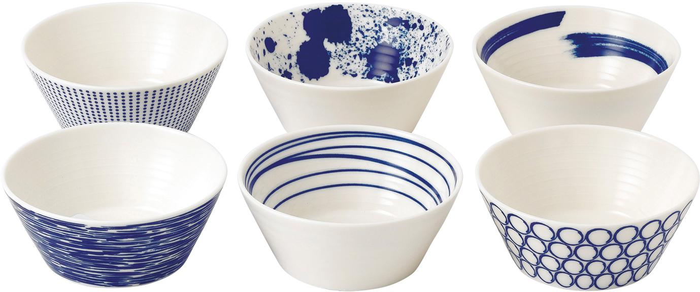 Porseleinen schalenset Pacific met patroon, 6-delig, Porselein, Wit, blauw, Ø 11 cm
