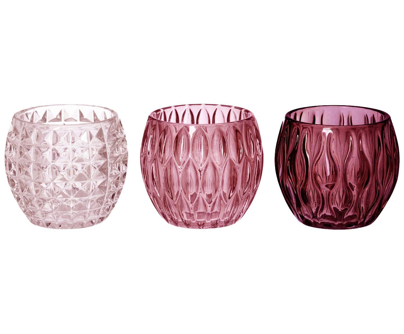 Set de portavelas Aliza, 3pzas., Vidrio, Rosa, transparente, Ø 10 x Al 9 cm