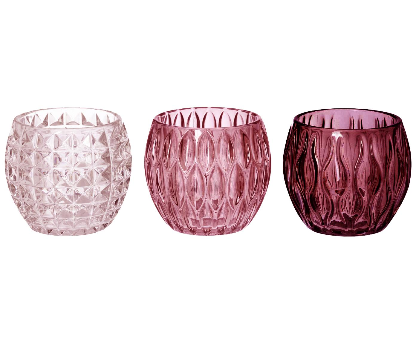 Waxinelichthoudersset Aliza, 3-delig, Glas, Rozetinten, transparant, Ø 10 x H 9 cm