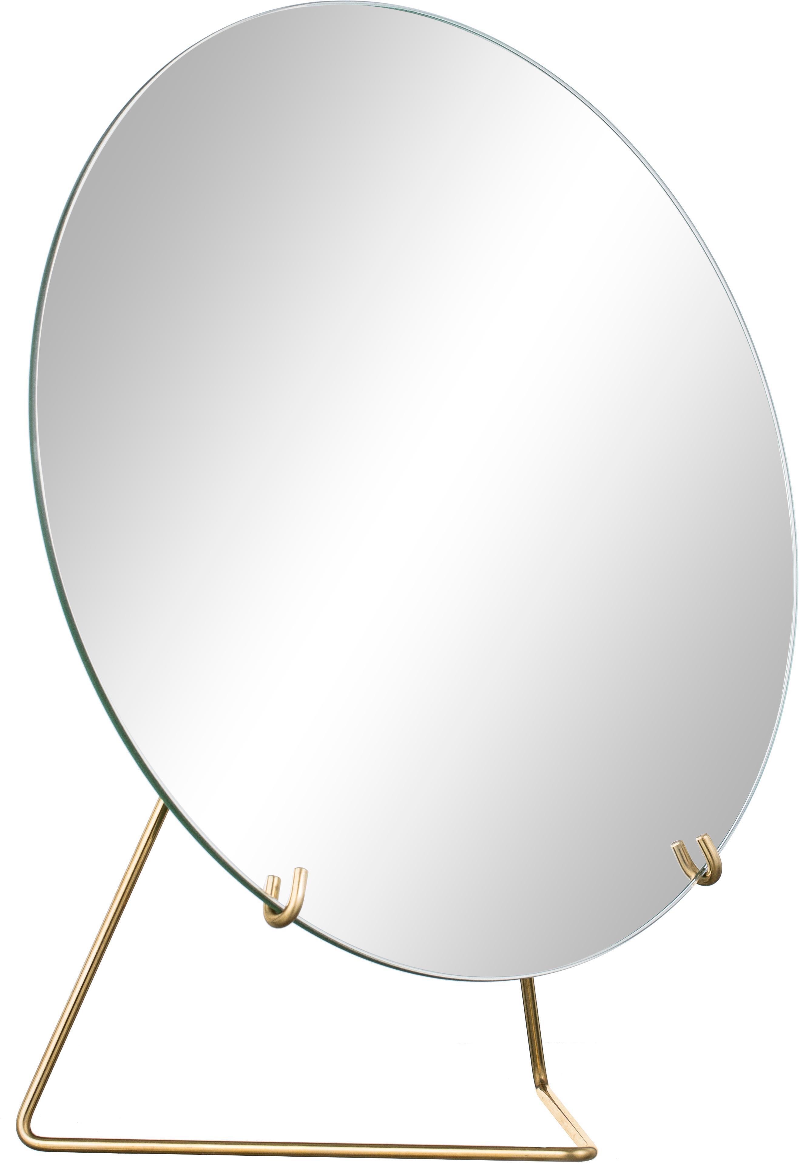 Kosmetikspiegel Standing Mirror, Aufhängung: Messing<br>Spiegel: Spiegelglas, 20 x 23 cm