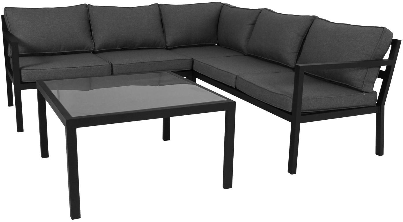 Garten-Lounge-Set Joliette, 2-tlg., Gestell: Aluminium, pulverbeschich, Bezug: Olefin, Gestell: Aluminium, Tischplatte: Glas, Schwarz, Dunkelgrau, Sondergrößen