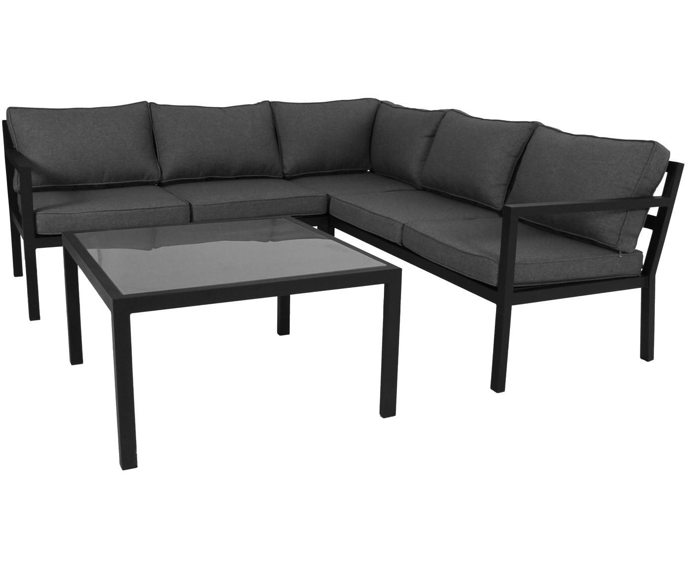 Set lounge exterior Joliette, 2pzas., Estructura: aluminio con pintura en p, Tapizado: olefina, Estructura: aluminio, Tablero: vidrio, Negro, gris oscuro, Tamaños diferentes