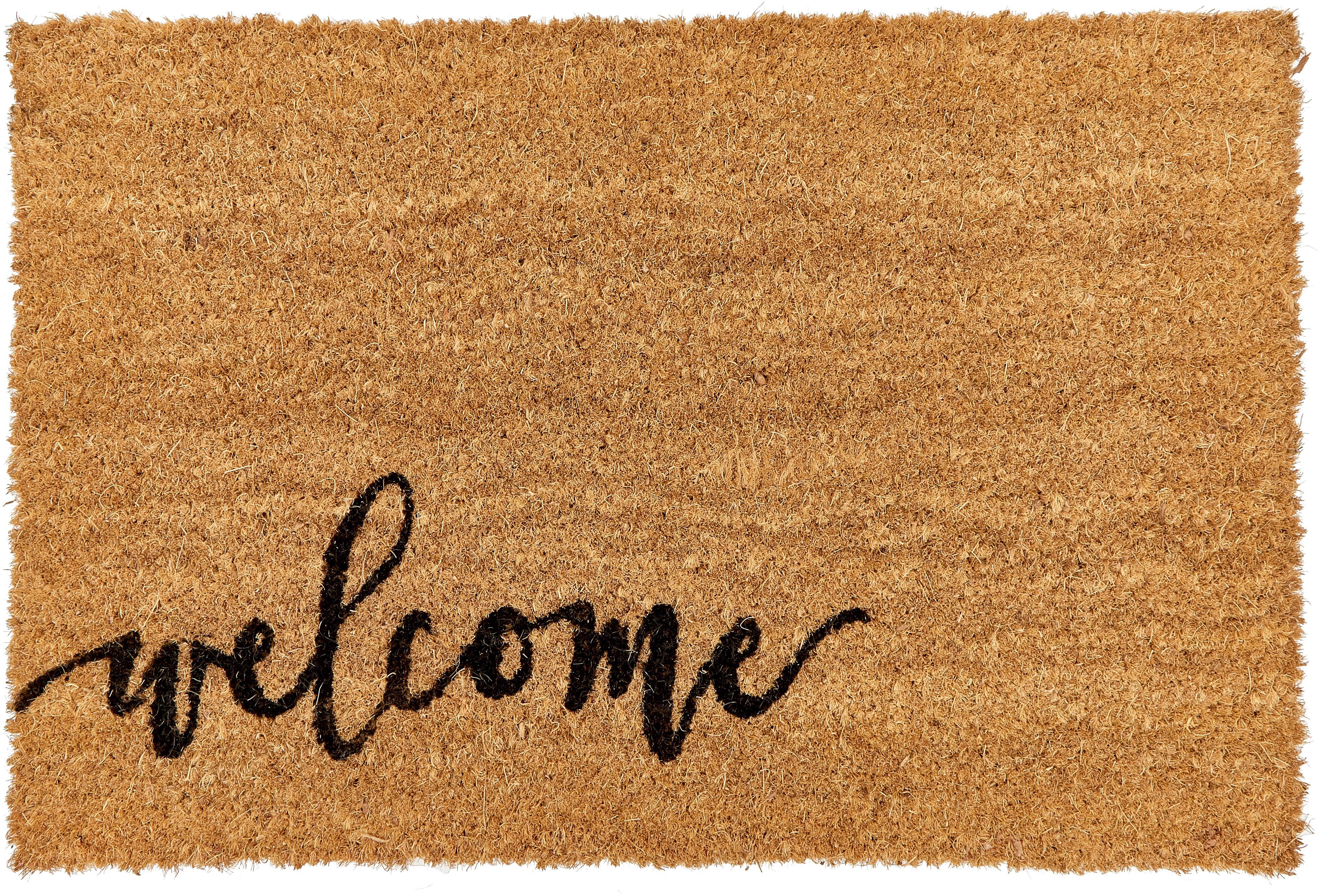 Deurmat Welcome, Bovenzijde: kokosvezels, Onderzijde: kunststof (PVC), Bovenzijde: beige, zwart. Onderzijde: zwart, 40 x 60 cm