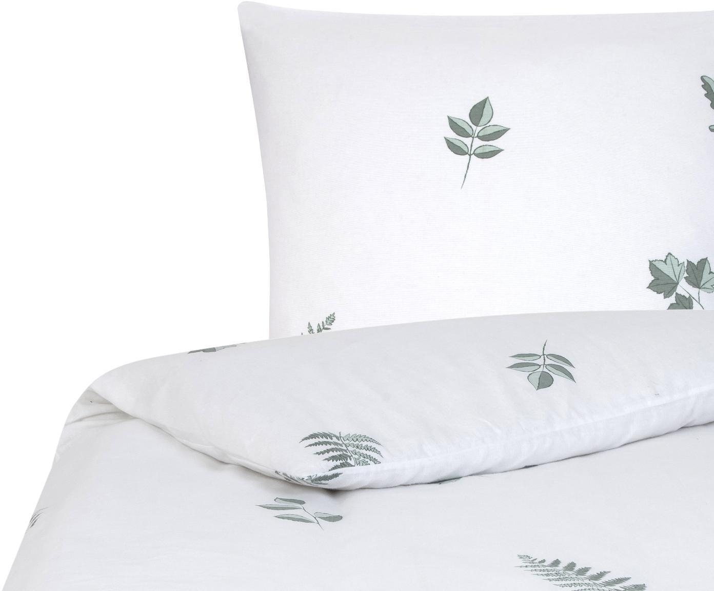 Flanell-Bettwäsche Fraser mit winterlichem Blattmuster, Webart: Flanell Flanell ist ein s, Salbeigrün, Weiss, 135 x 200 cm + 1 Kissen 80 x 80 cm