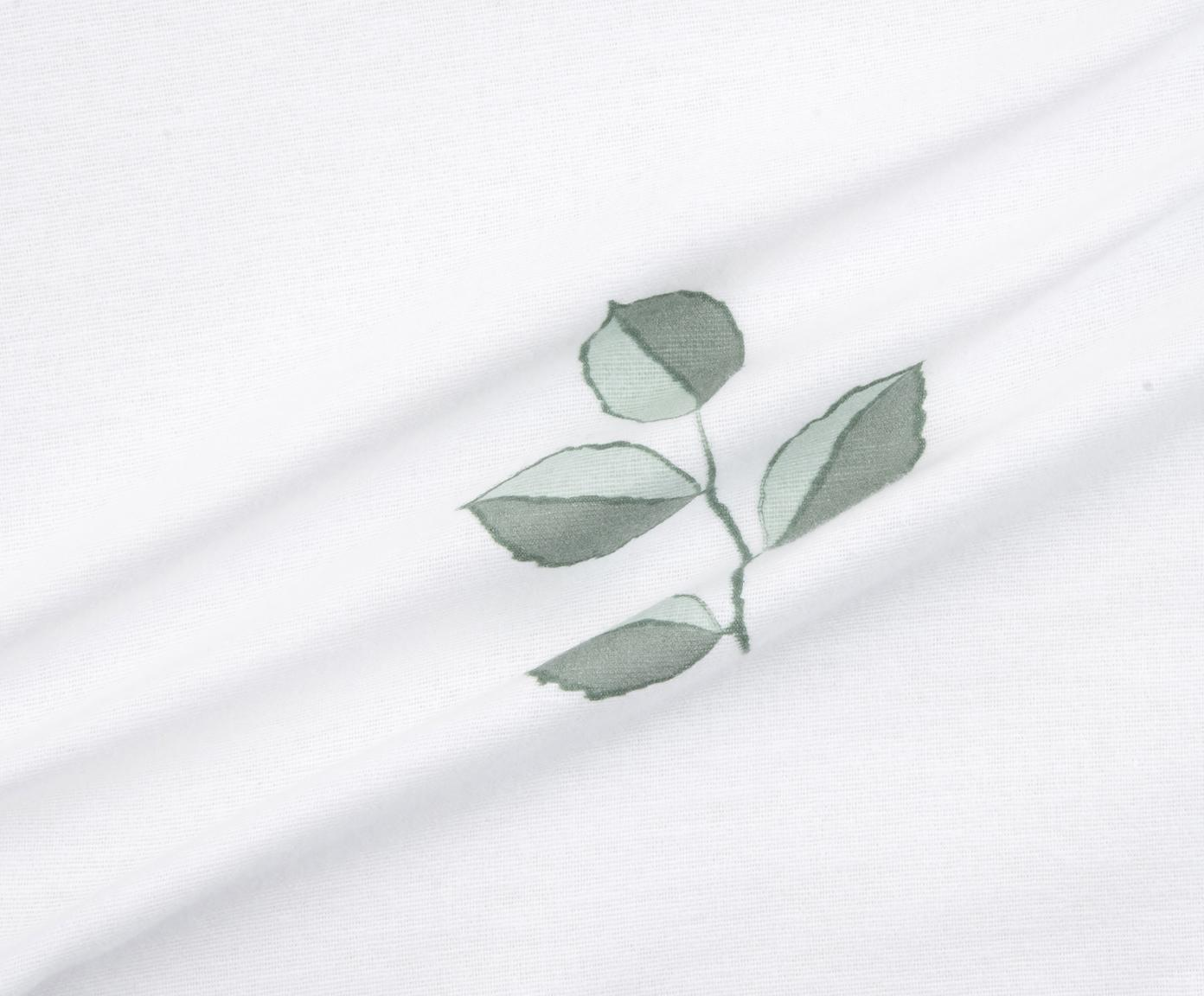 Flanell-Bettwäsche Fraser mit winterlichem Blattmuster, Webart: Flanell Flanell ist ein s, Salbeigrün, Weiß, 155 x 220 cm + 1 Kissen 80 x 80 cm
