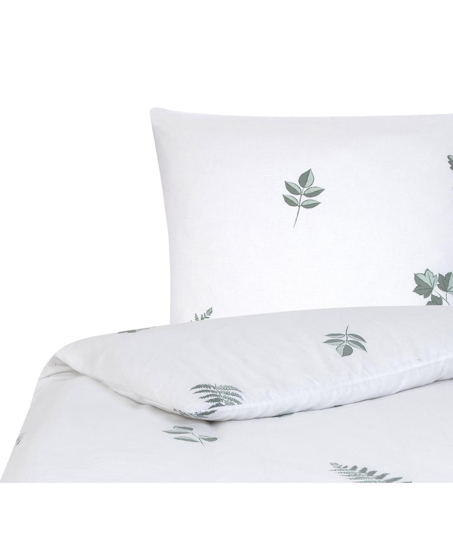 Flanell-Bettwäsche Fraser mit winterlichem Blattmuster, Webart: Flanell Flanell ist ein s, Salbeigrün, Weiß, 135 x 200 cm + 1 Kissen 80 x 80 cm
