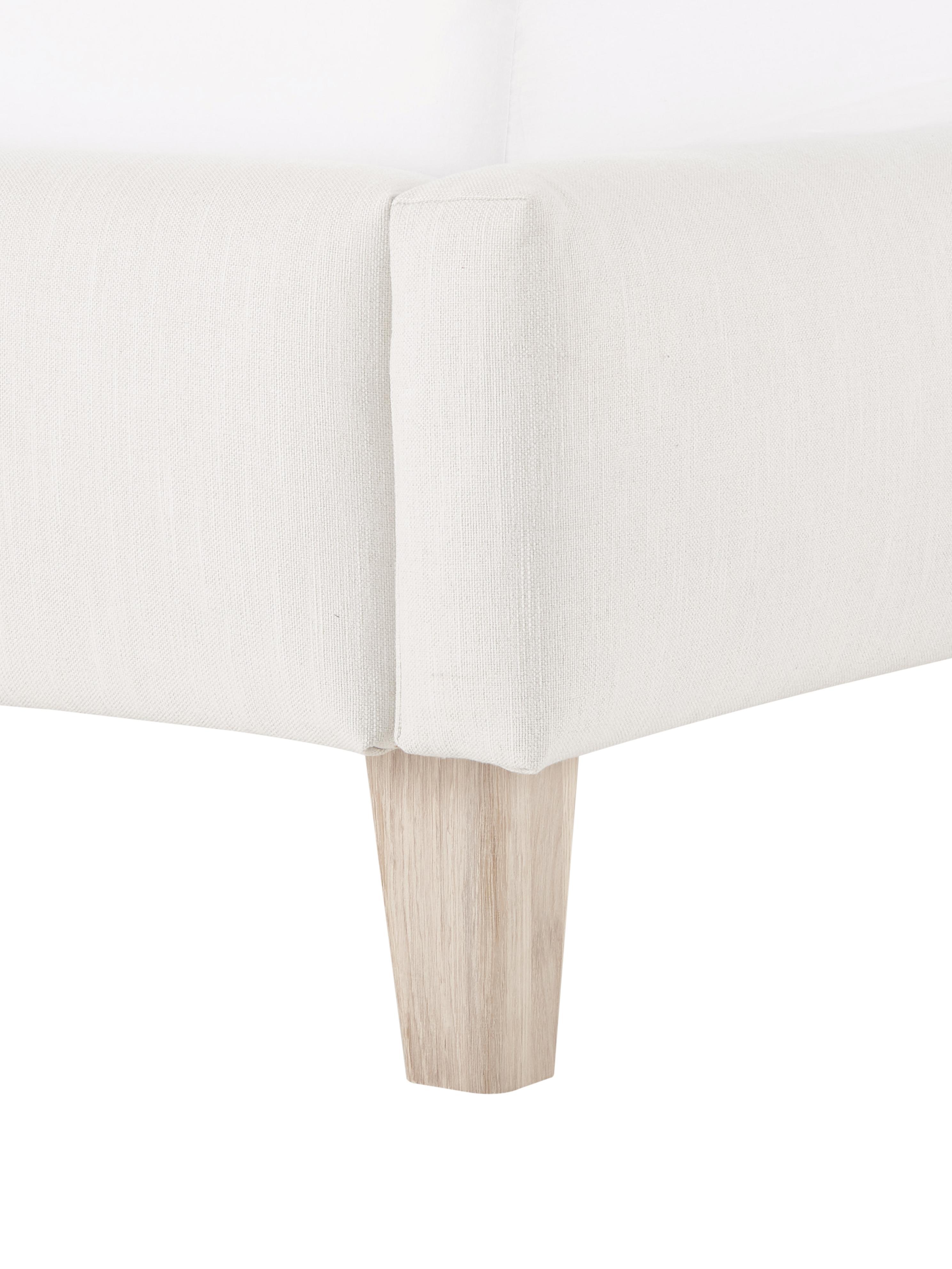 Polsterbett Serene, Korpus: Massives Kiefernholz, Füße: Massives Eichenholz, Bezug: Polyester (Strukturstoff), Beige, 180 x 200 cm