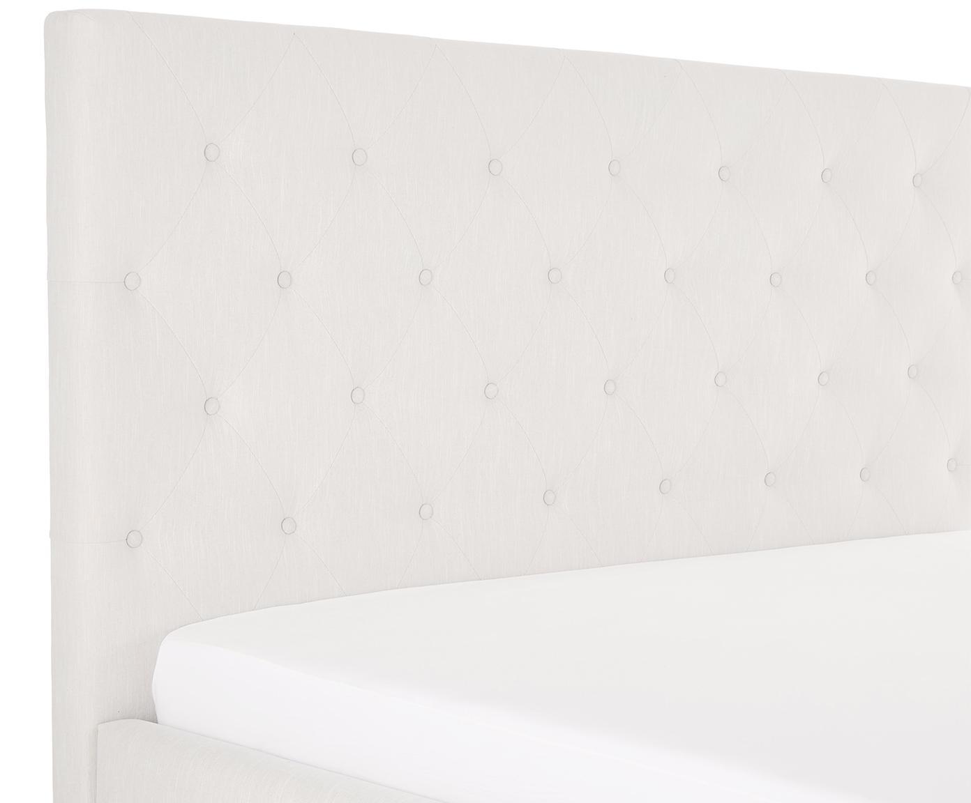 Łóżko tapicerowane Serene, Korpus: lite drewno sosnowe, Nogi: lite drewno dębowe, Tapicerka: poliester (materiał tekst, Beżowy, 180 x 200 cm