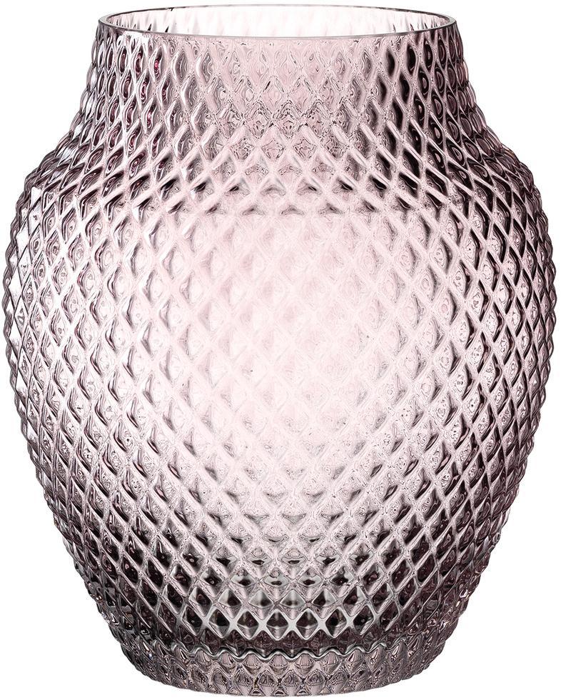 Jarrón artesanal de vidrio Poesia, Vaso, Rosa, Ø 19 x Al 23 cm