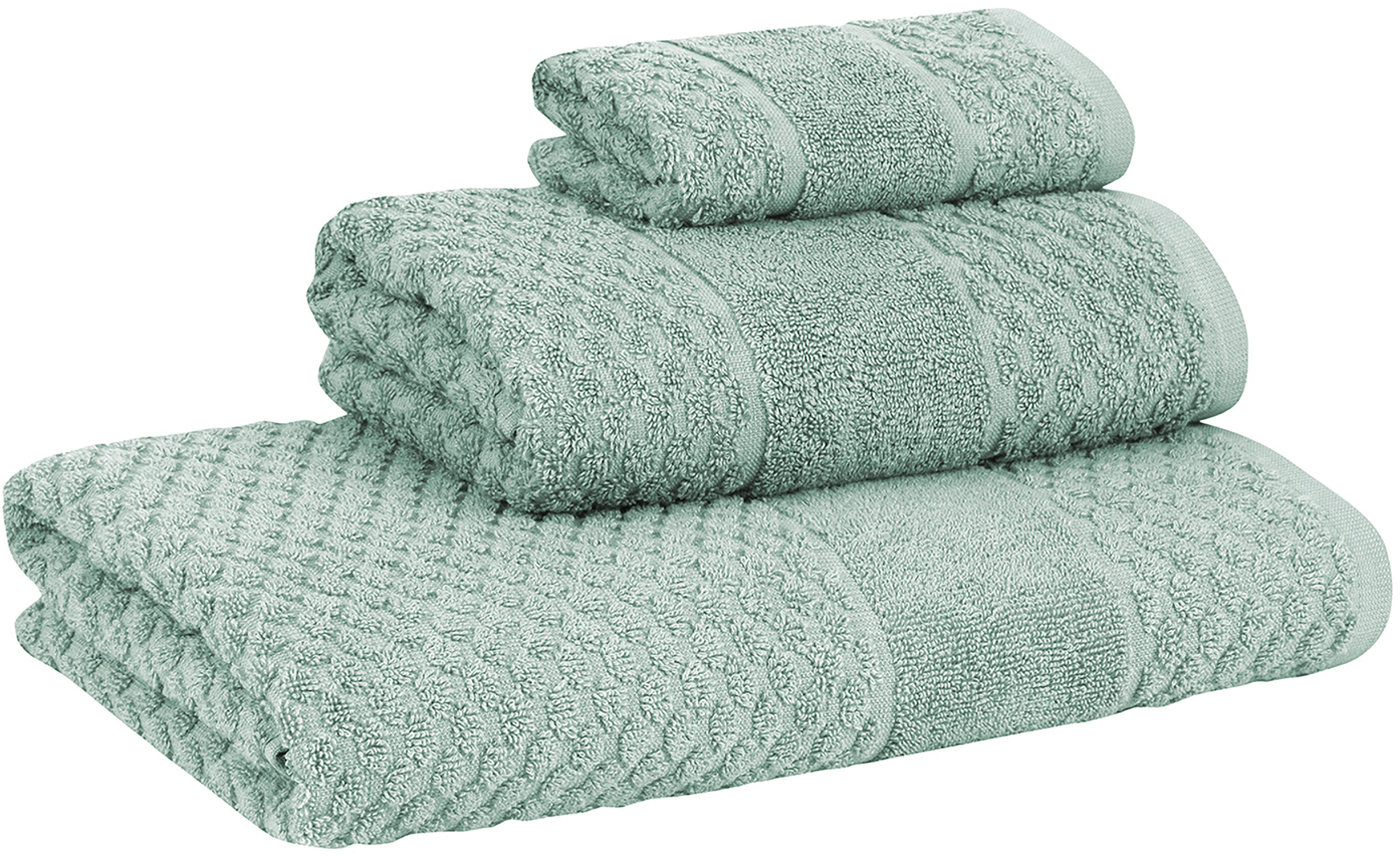 Set de toallas texturizada Katharina, 3pzas., Verde menta, Set de diferentes tamaños