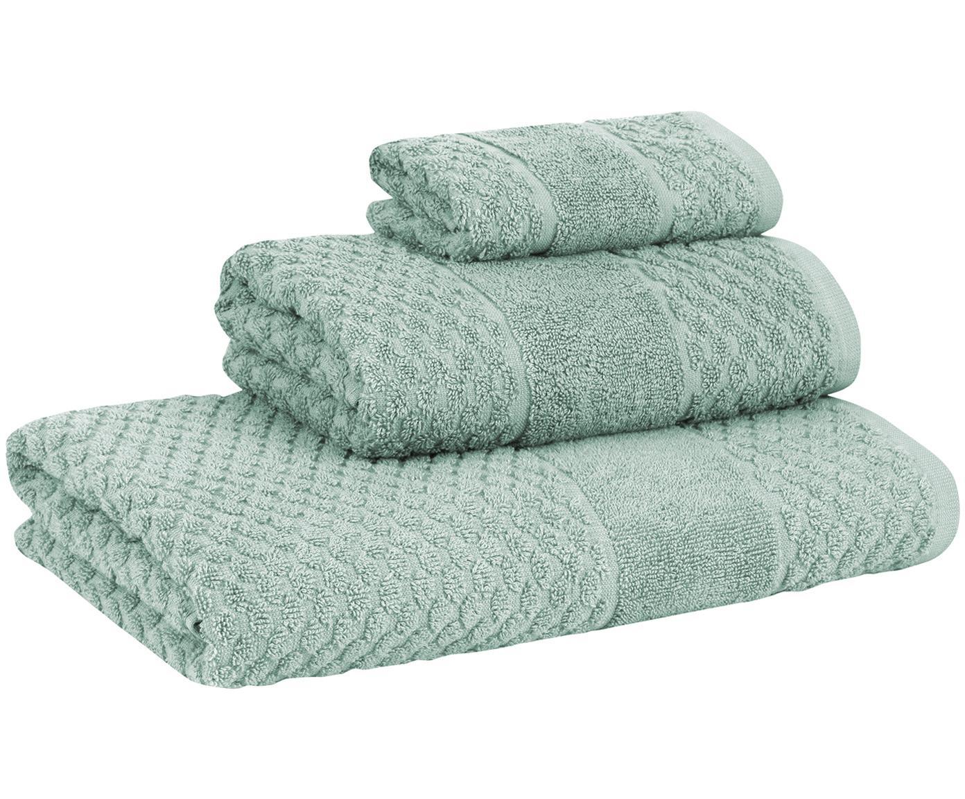 Set 3 asciugamani con motivo a nido d'ape Katharina, Menta, Diverse dimensioni