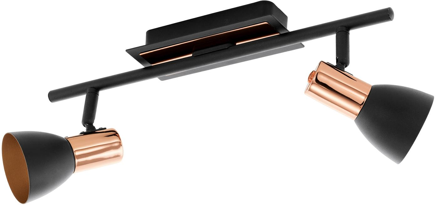 Faretti da soffitto neri Solaris, Paralume: acciaio verniciato, Attacco: nero, rame Paralume esterno: nero, Larg. 40 cm