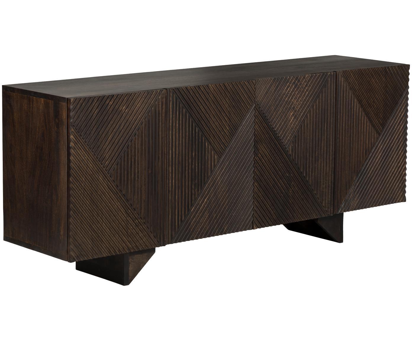 Sideboard Louis aus massiven Mangoholz, Mangoholz, massiv, Mangoholz, lackiert, 177 x 75 cm