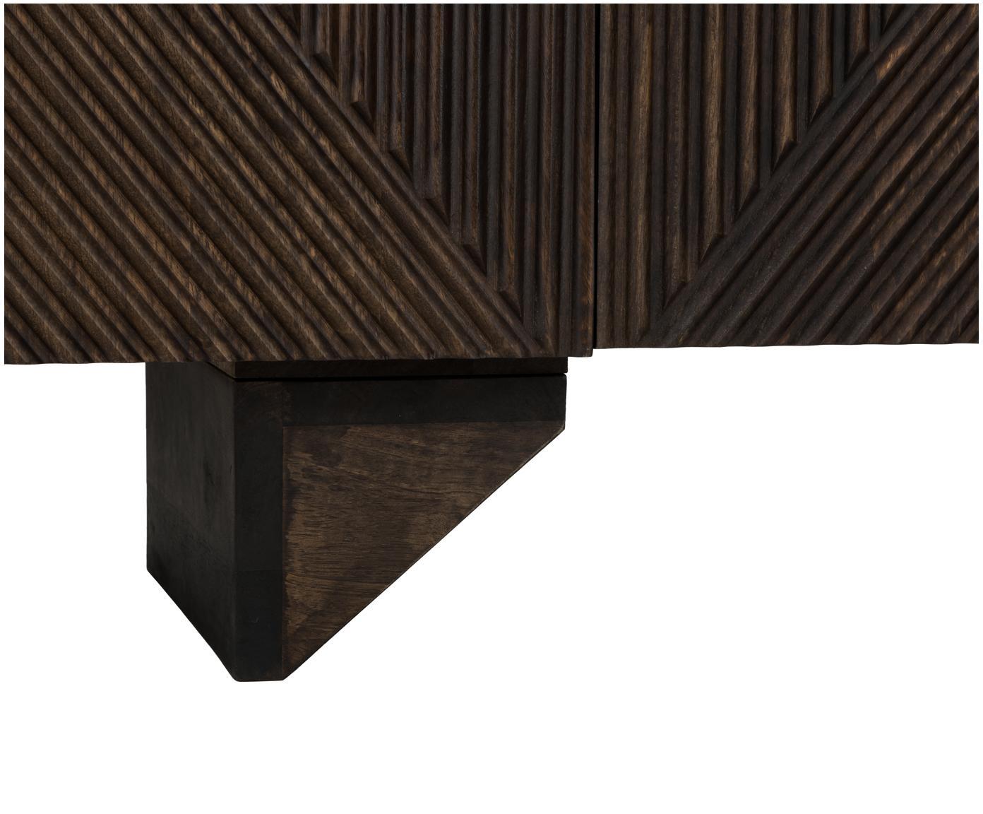 Dressoir Louis van massief mangohout, Massief mangohout, Gelakt mangohout, 177 x 75 cm