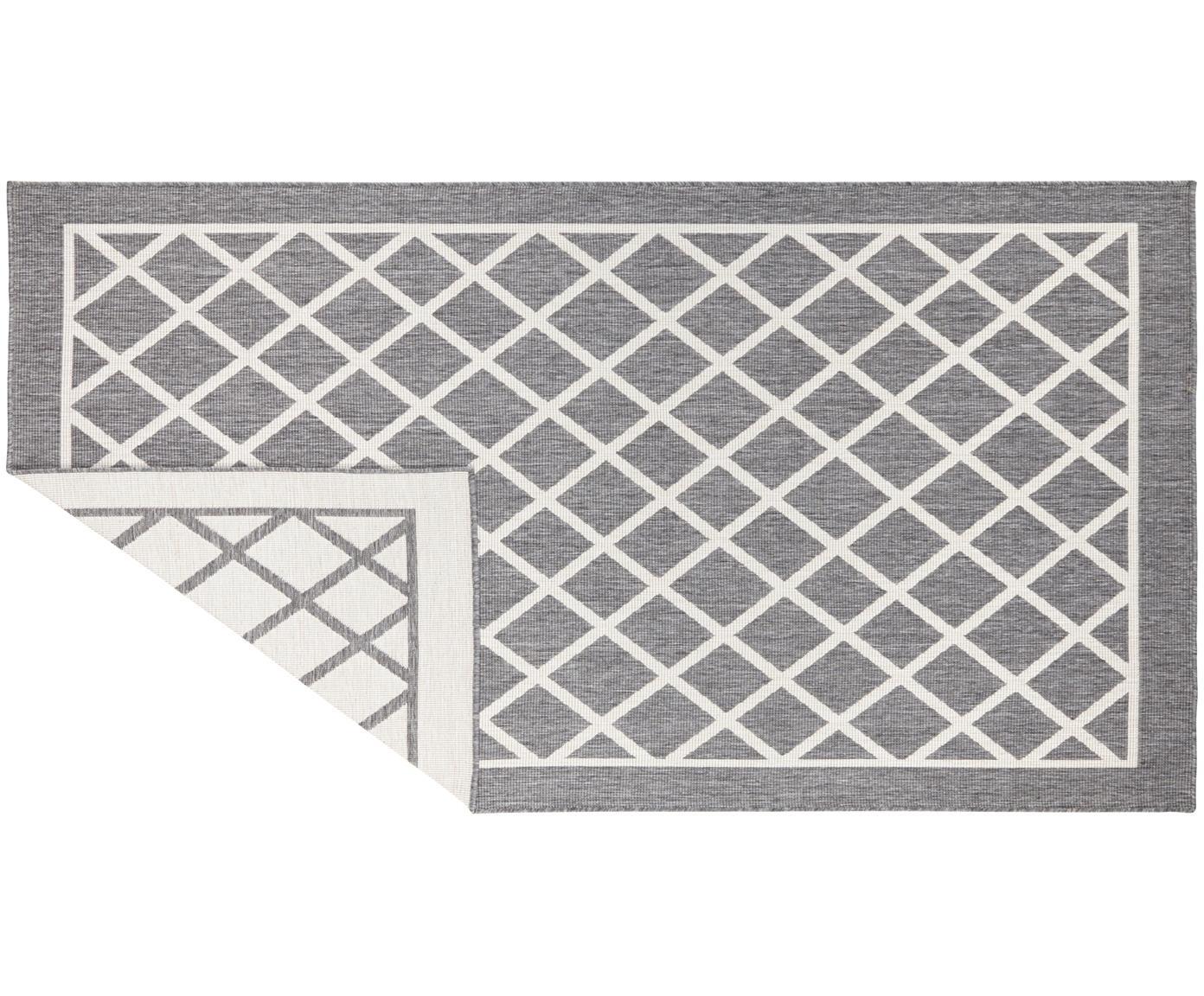 Alfombra reversible de interior/exterior Sydney, Gris, crema, An 80 x L 150 cm (Tamaño XS)