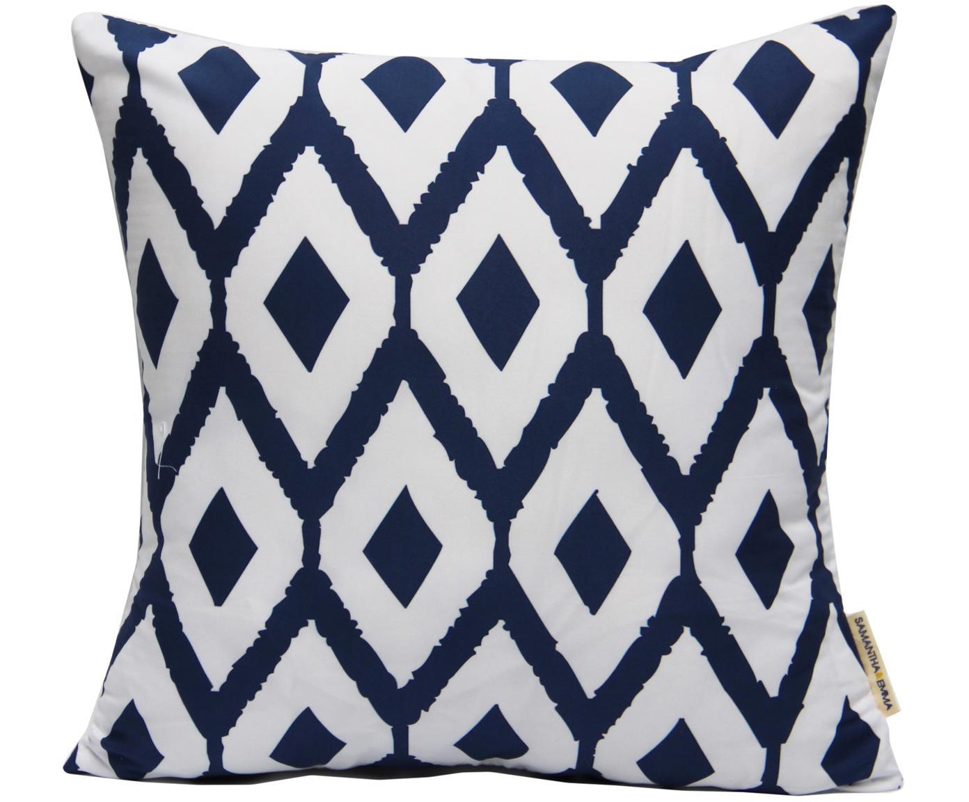 Poszewka na poduszkę Barbara, Poliester, Biały, niebieski, S 40 x D 40 cm