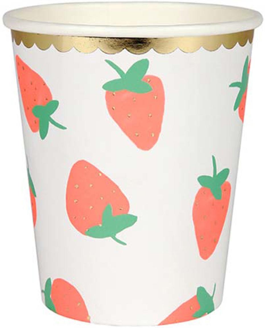 Papieren bekers Strawberry, 8 stuks, Gecoat papier, Wit, roze, groen, Ø 8 x H 8 cm