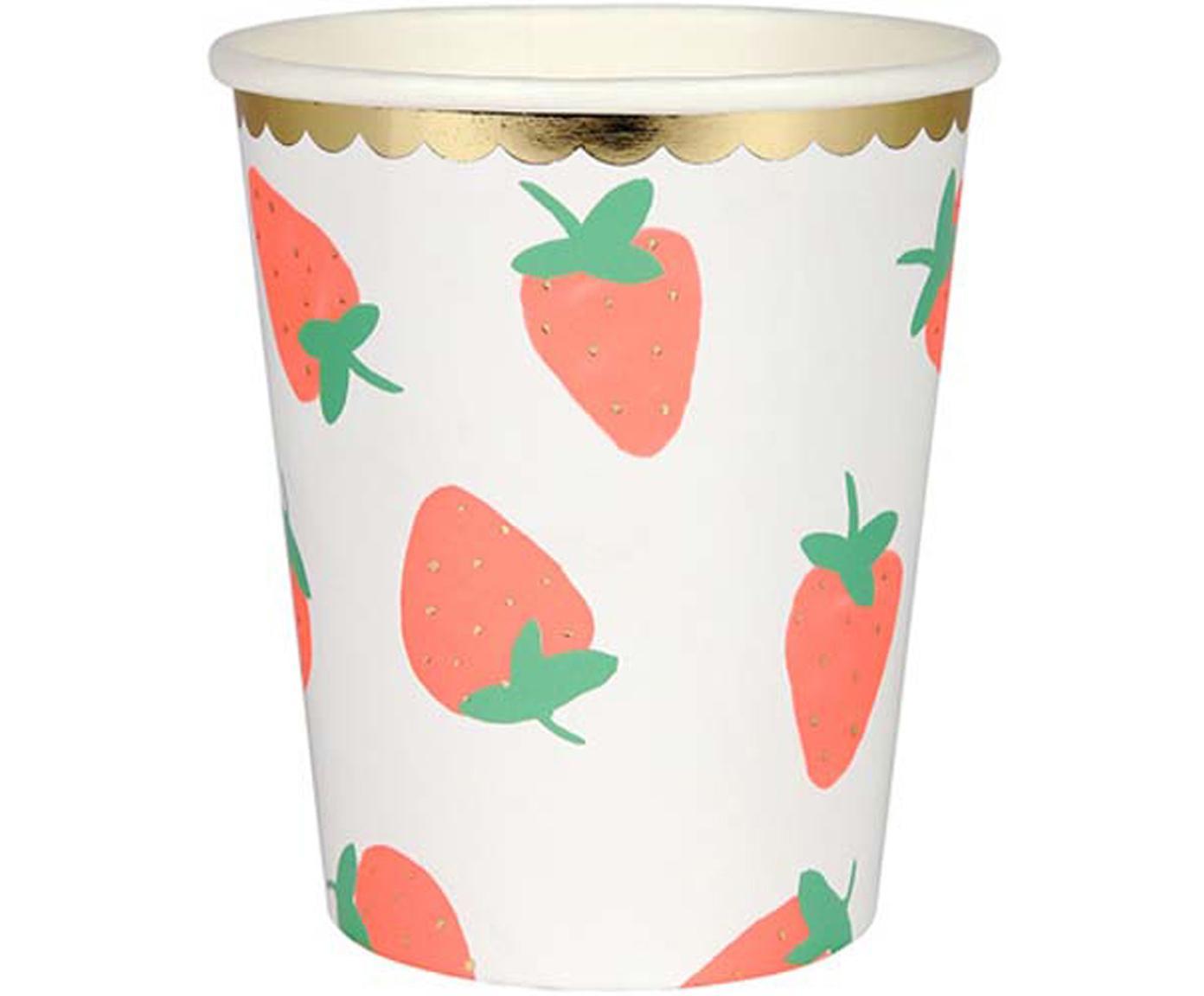 Papier-Becher Strawberry, 8 Stück, Papier, foliert, Weiß, Rosa, Grün, Ø 8 x H 8 cm