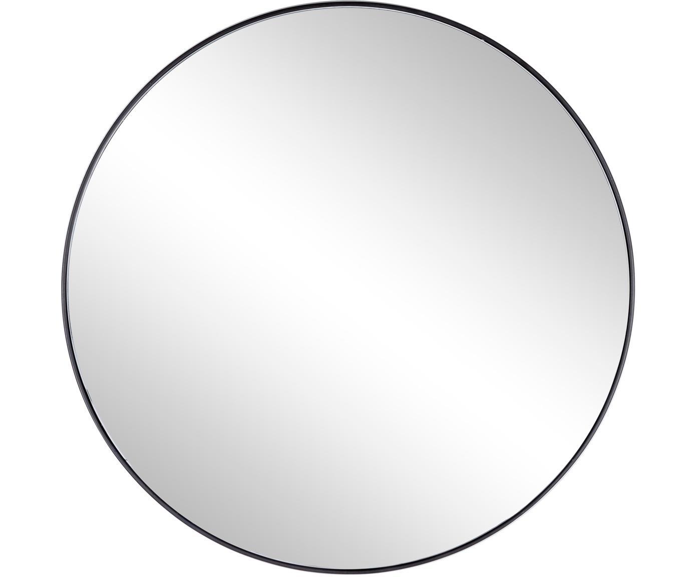 Ronde wandspiegel Nucleos met zwarte metalen lijst, Frame: gecoat metaal, Zwart, Ø 70 cm