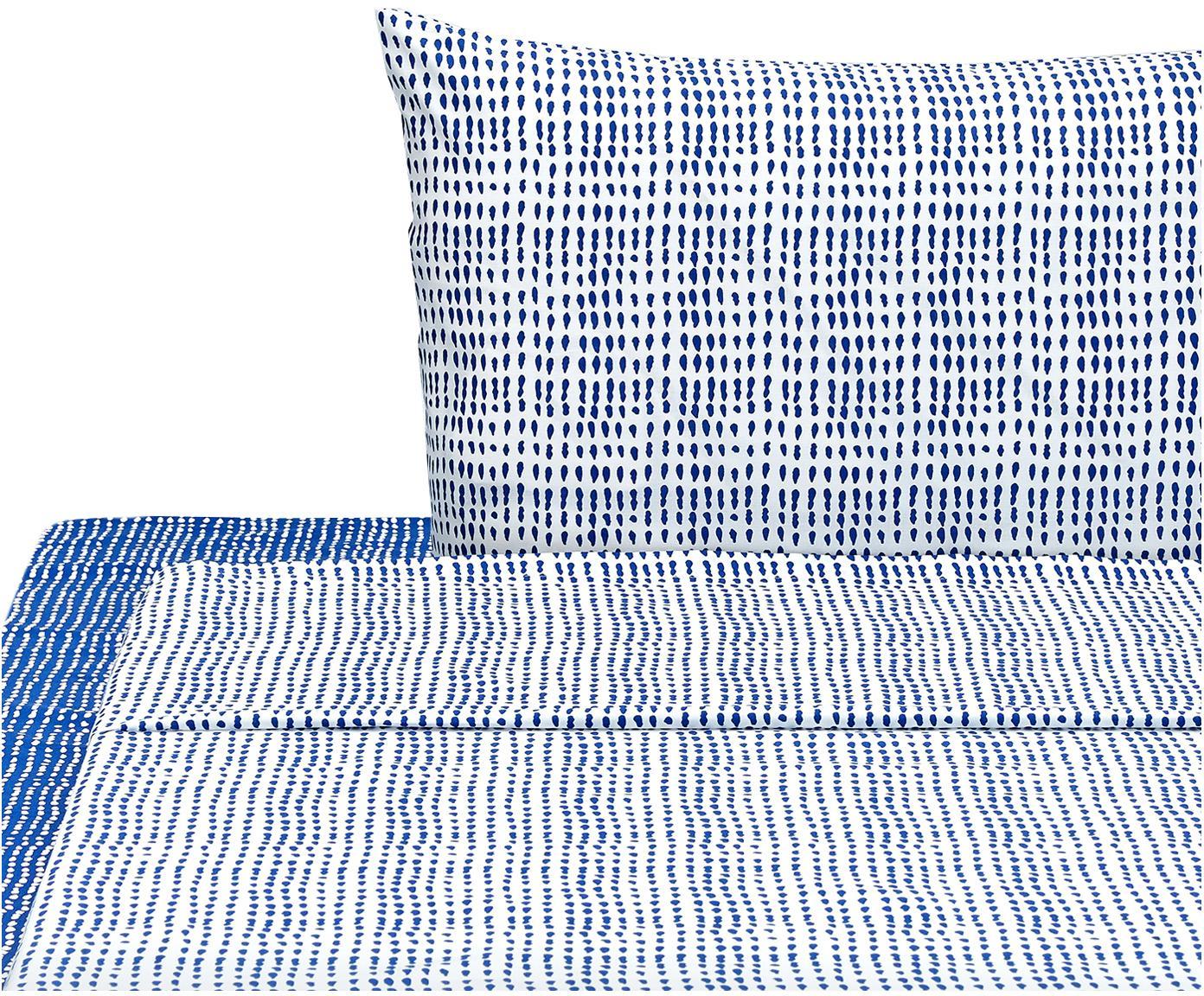 Completo letto Gocciole, Cotone, Blu, bianco, 150 x 280 cm