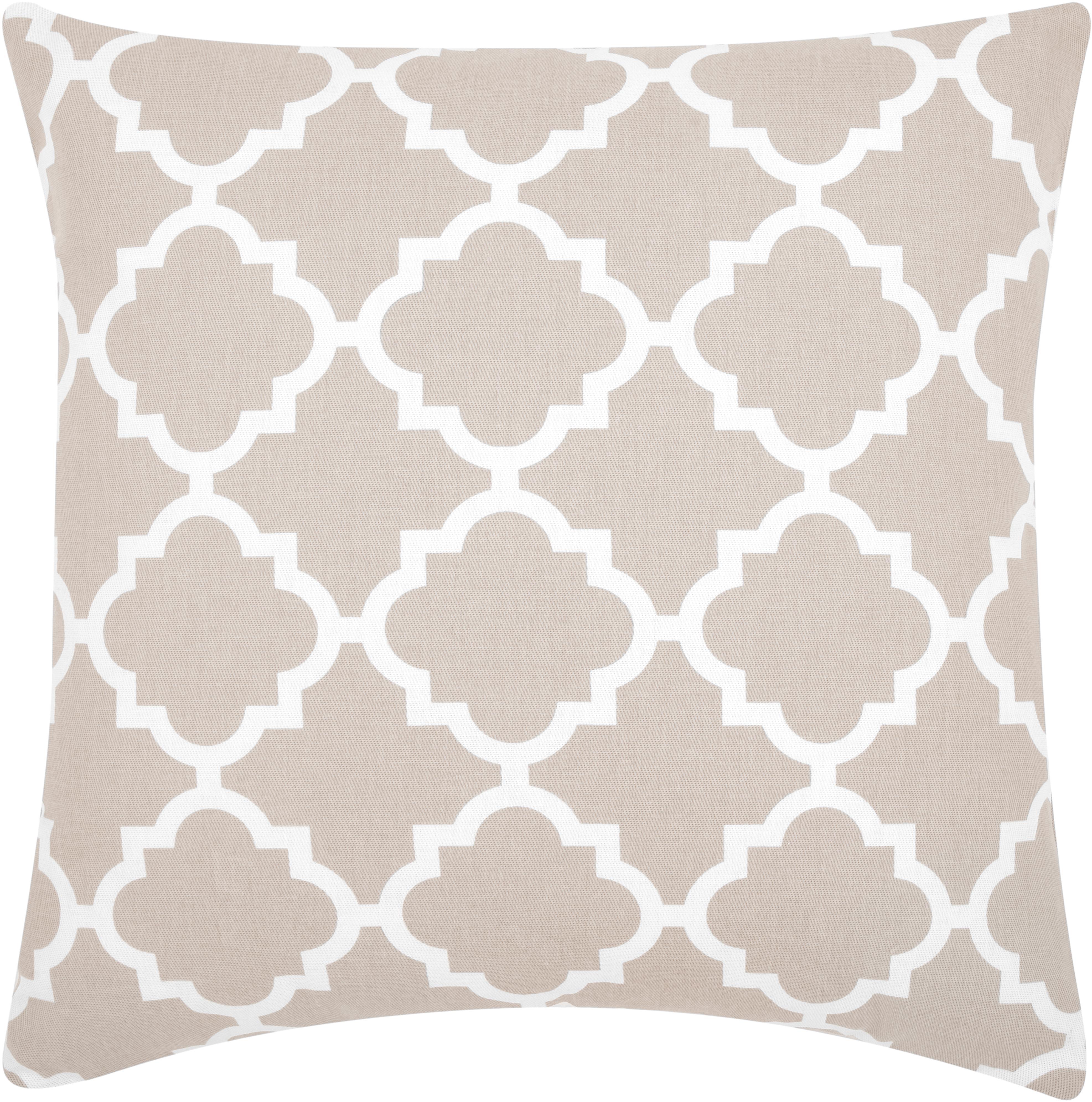 Kissenhülle Lana mit grafischem Muster, 100% Baumwolle, Beige, Weiß, 45 x 45 cm