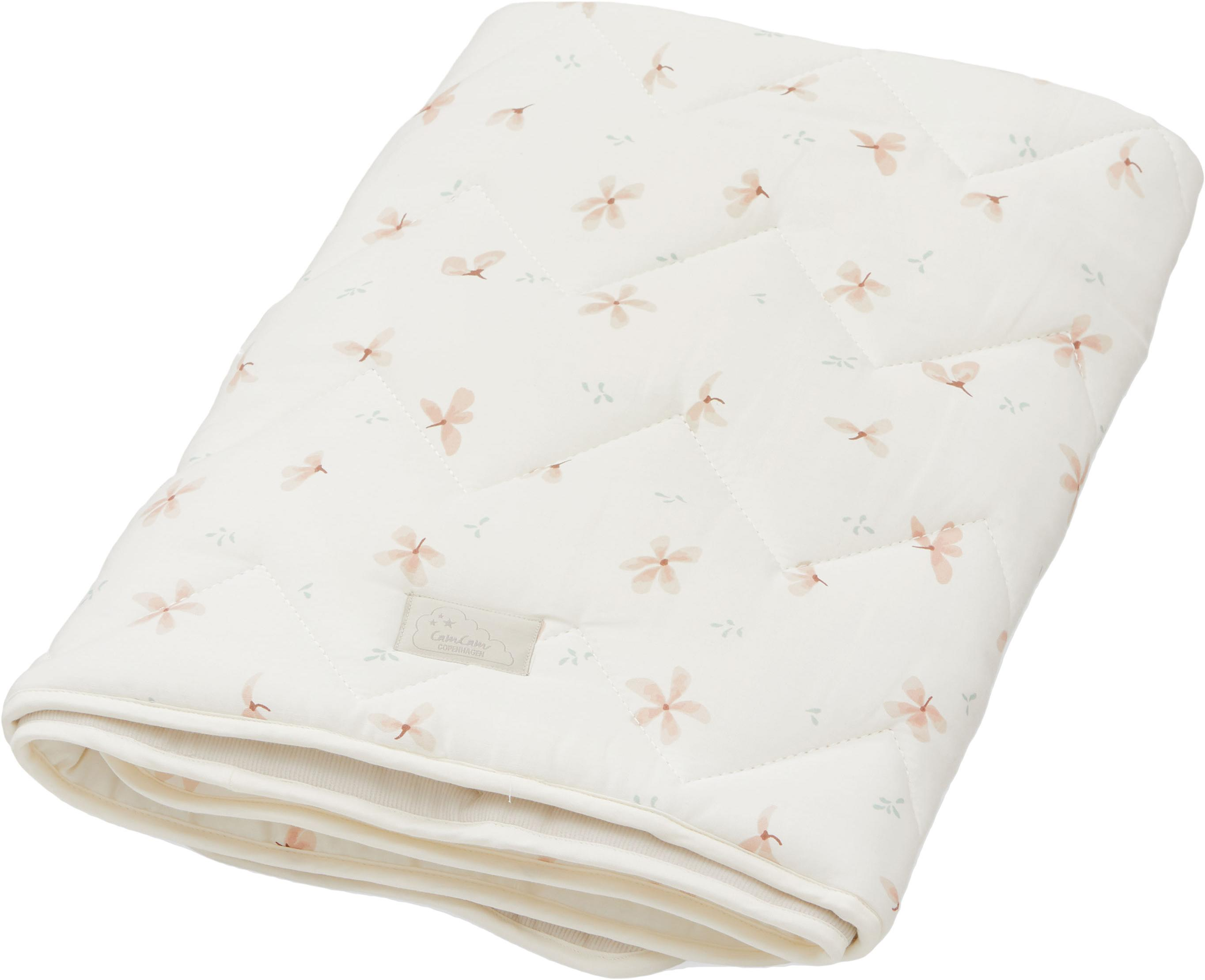 Cubrecolchón cuna de algodón ecológico Wildflower, Funda: 100%algodón ecológico, c, Crema, rosa, An 100 x L 100 cm