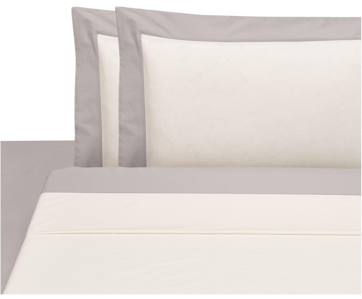 Set lenzuola in percalle Plein 4 pz, Grigio, bianco latteo, 260 x 295 cm