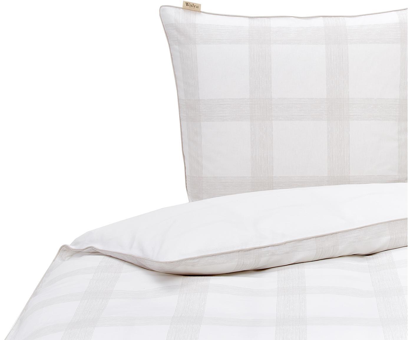 Karierte Baumwoll-Bettwäsche Square Nights mit Keder, Webart: Renforcé Renforcé besteht, Weiß, Beige, 135 x 200 cm + 1 Kissen 80 x 80 cm
