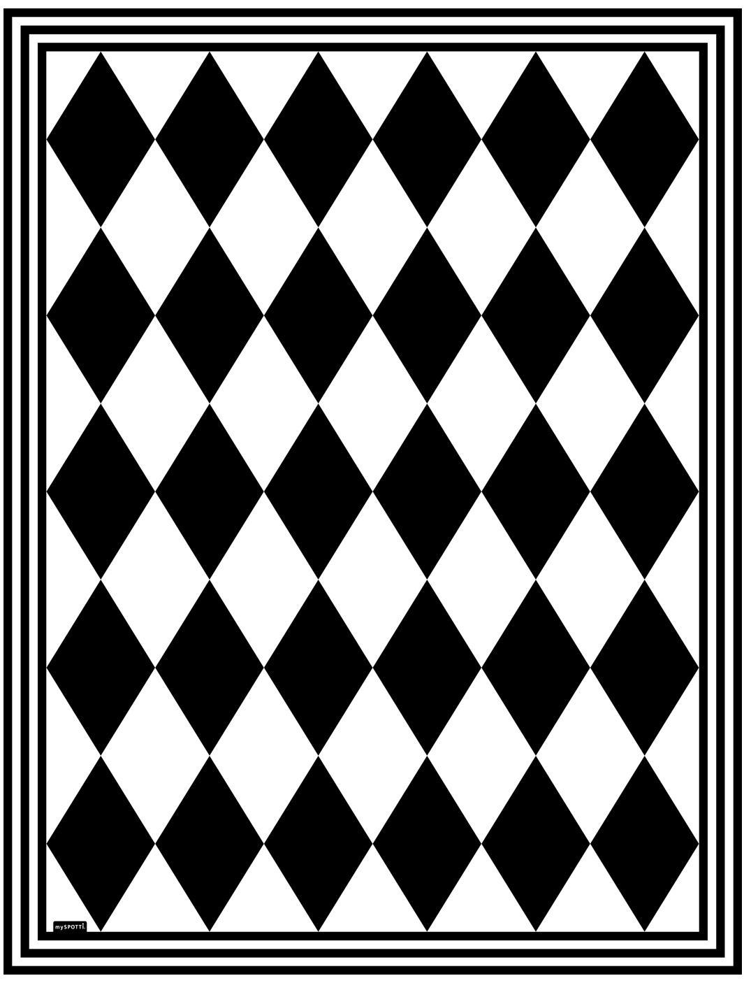 Mata podłogowa z winylu Bobby II, Winyl pochodzący z recyklingu, Czarny, biały, S 65 x D 85 cm