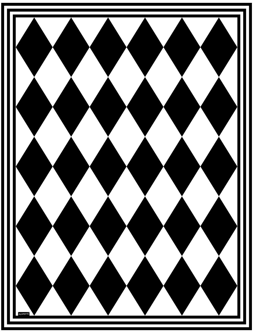 Tappetino in vinile Bobby II, Vinile riciclabile, Nero, bianco, Larg. 65 x Lung. 85 cm