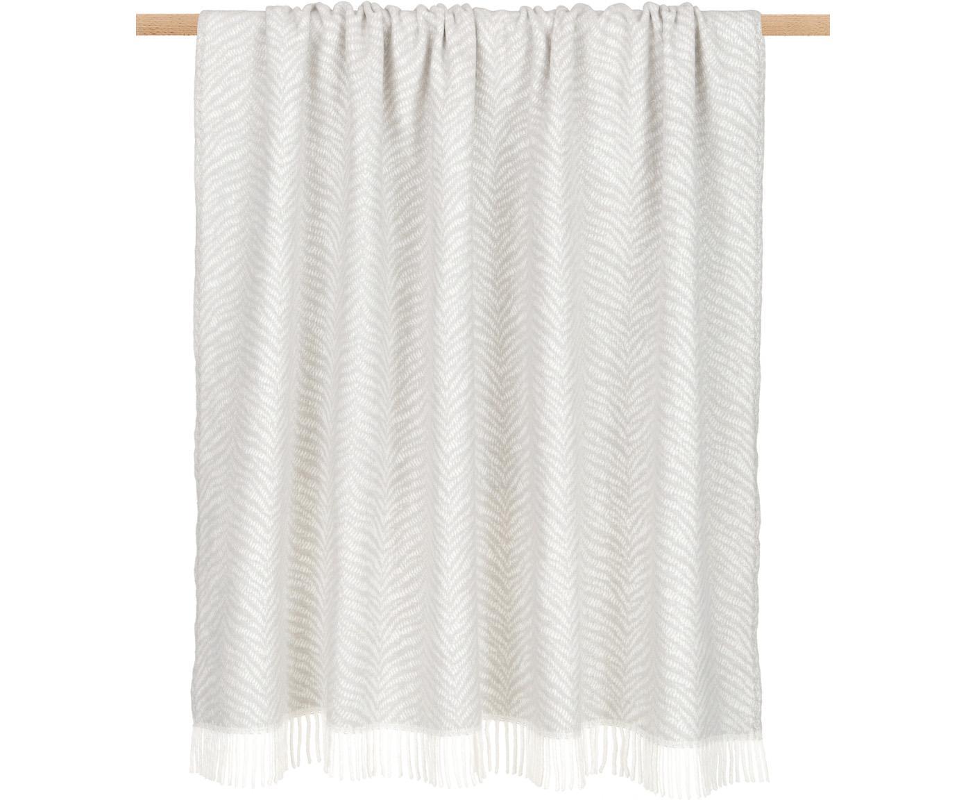 Plaid Greta mit Tiger-Muster, 50% Baumwolle, 50% Acryl, Hellgrau, Gebrochenes Weiß, 140 x 180 cm
