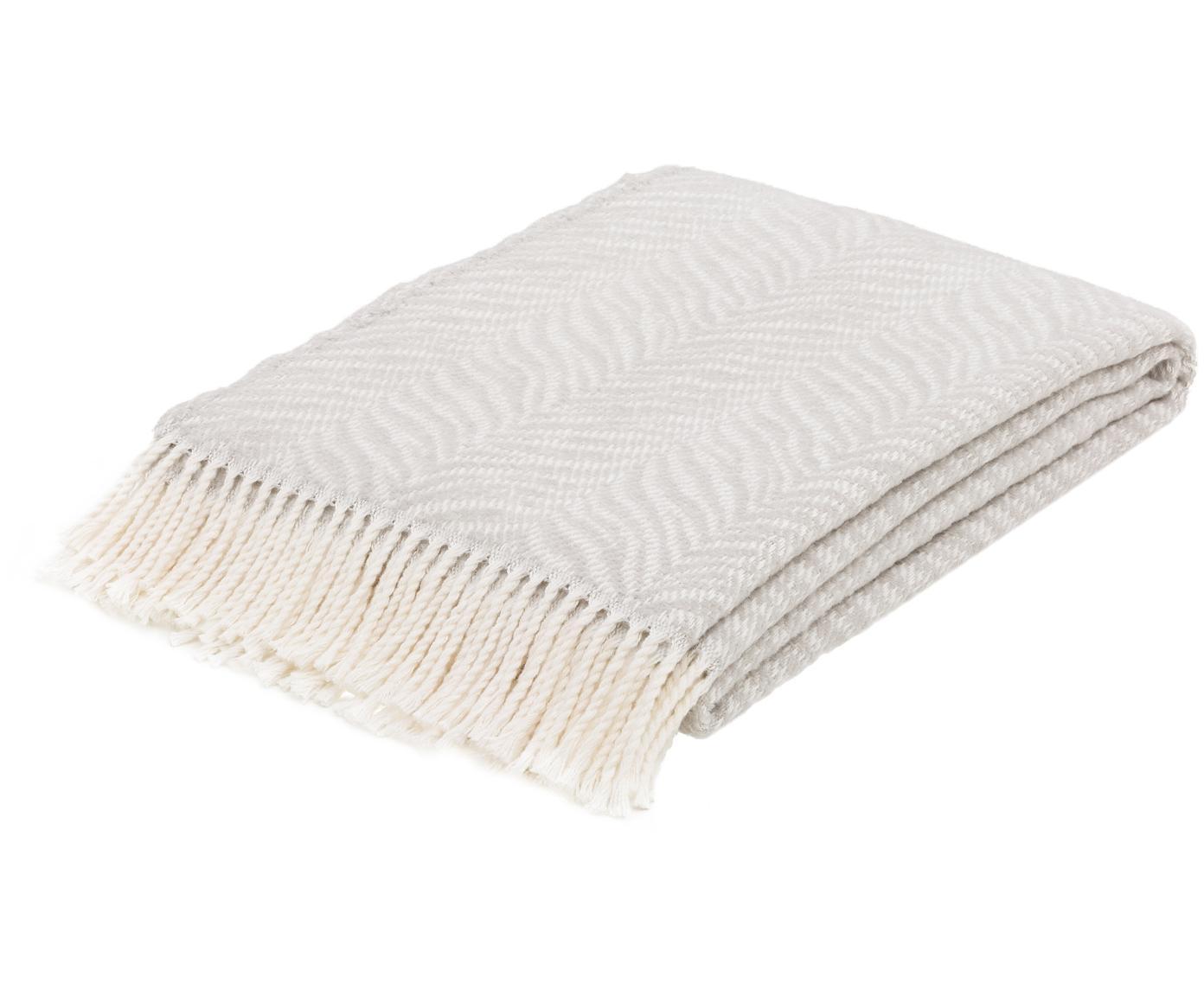 Plaid con motivo a tigre Greta, 50% cotone, 50% acrilico, Grigio chiaro, bianco spezzato, Larg. 140 x Lung. 180 cm