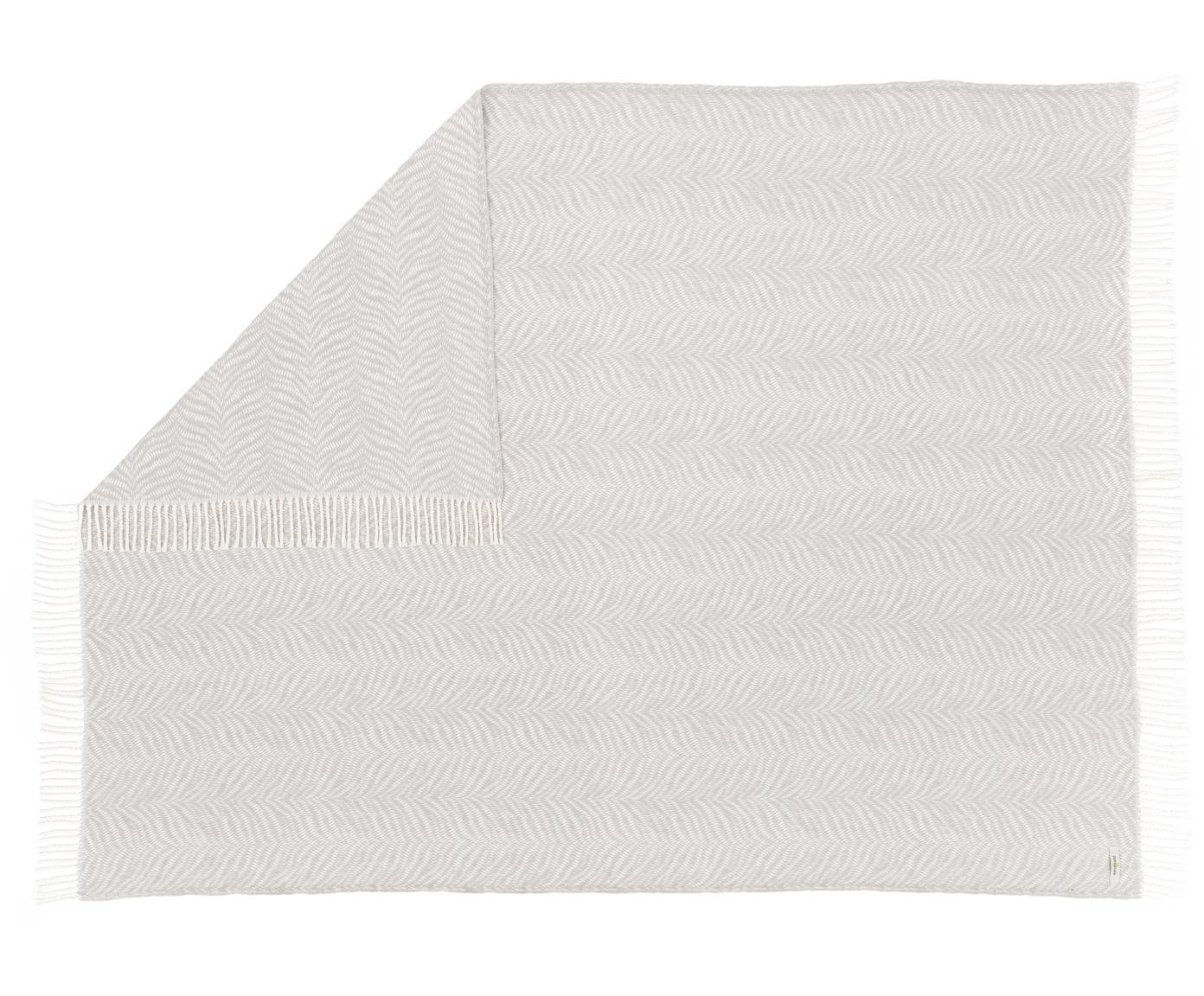 Pled Tigre, 50% bawełna, 50% akryl, Jasny szary, złamana biel, S 140 x D 180 cm