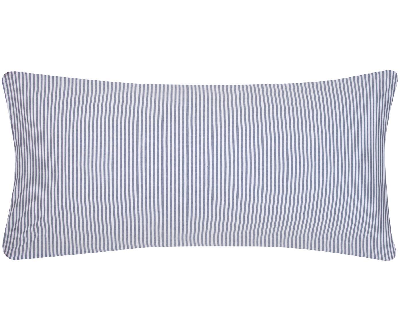 Funda de almohada en tejido renforcé Ellie, Blanco, azul oscuro, An 45 x L 85 cm