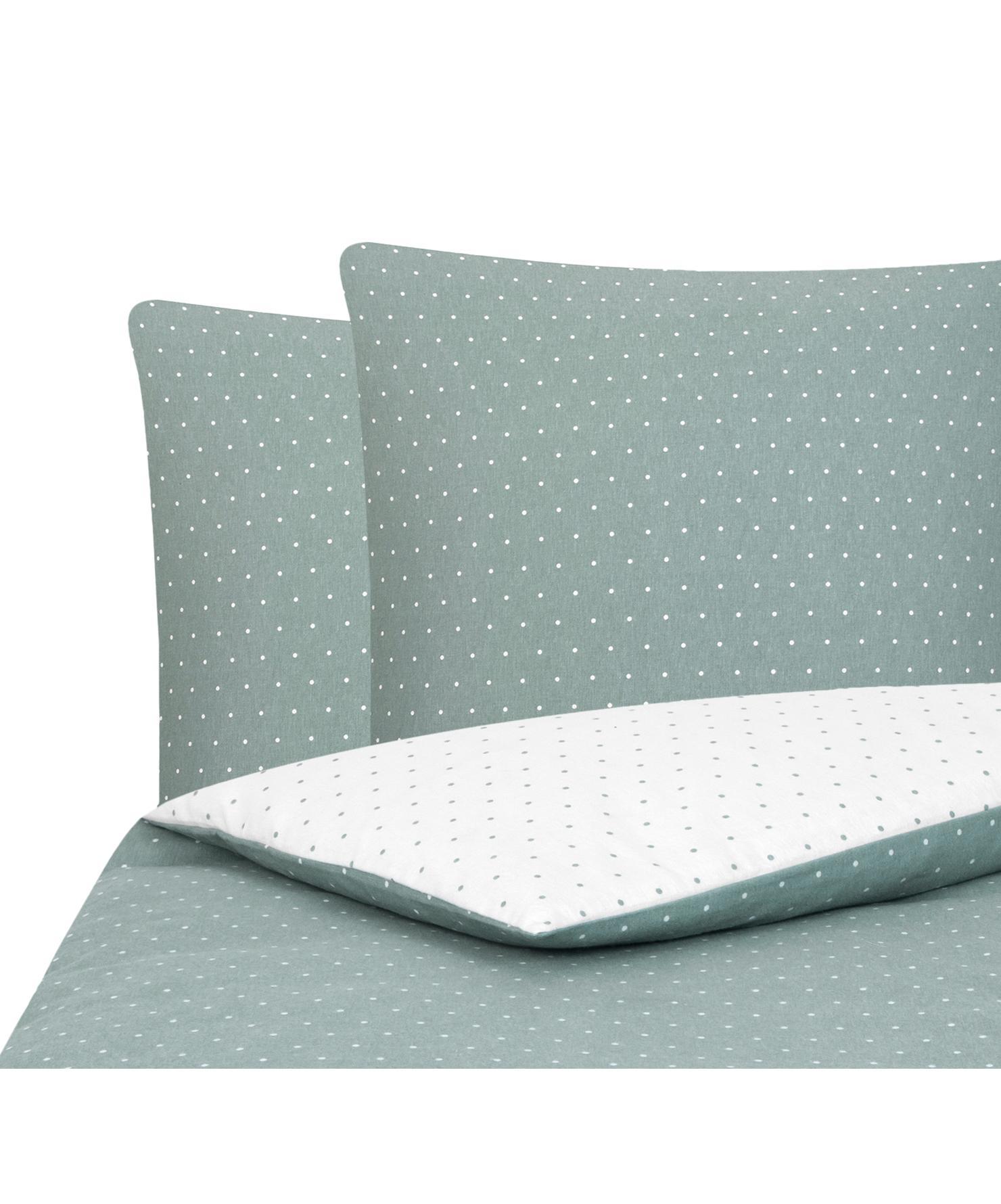 Flanell-Wendebettwäsche Betty, gepunktet, Webart: Flanell Flanell ist ein s, Salbeigrün, Weiß, 200 x 200 cm + 2 Kissen 80 x 80 cm